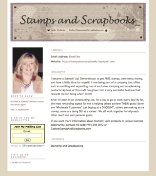 About Me Page - Stamps and Scrapbooks