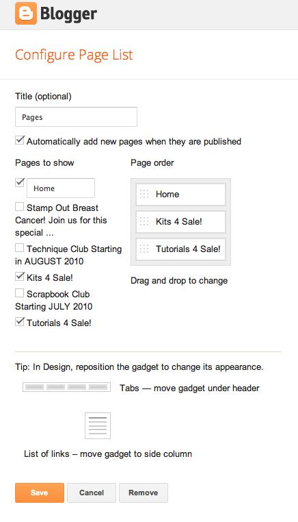 BloggerConfigurePages