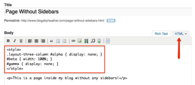 CodeForNoSidebars